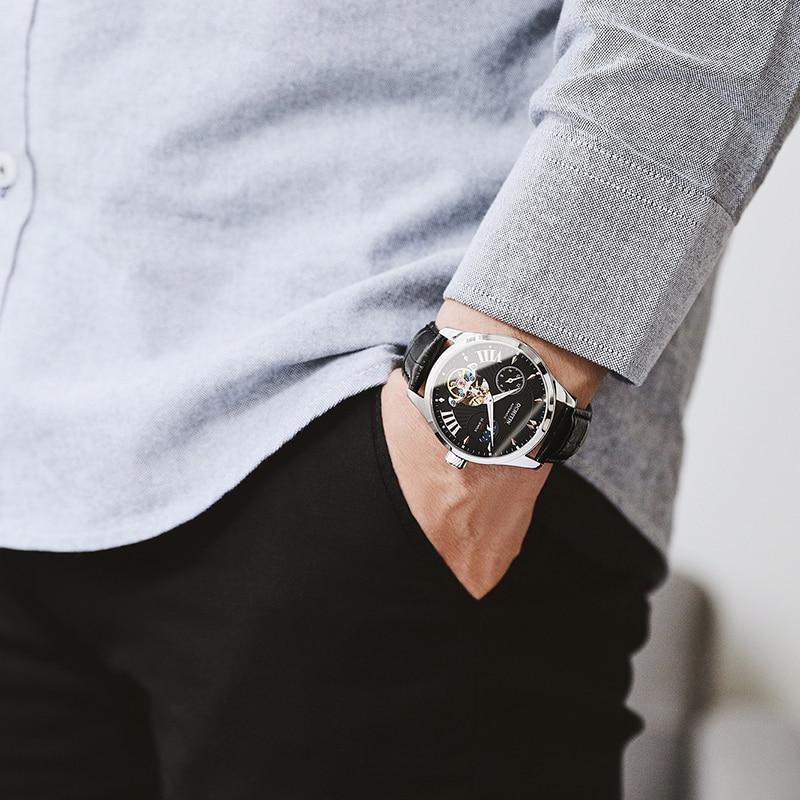 Luksusowe męski zegarek mechaniczny Top marka Tourbillon szkielet automatyczne Luminous tydzień wodoodporna skóra zegarki na rękę prezenty Relogio w Zegarki mechaniczne od Zegarki na  Grupa 1