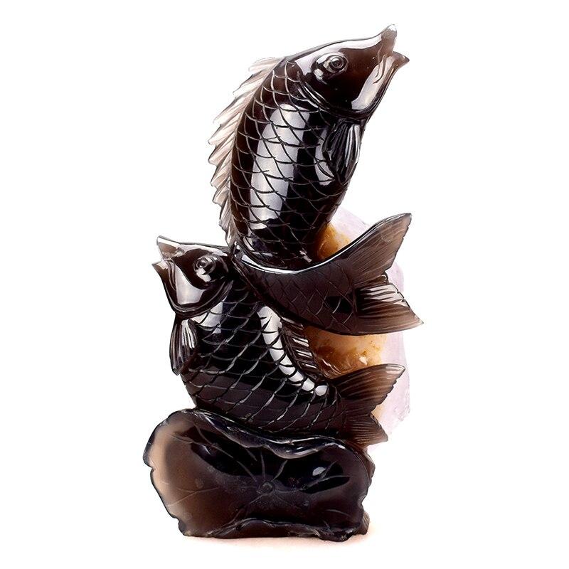 Énorme 10 ''Agate naturelle géode sculpté mascotte carpe Statue guérison Quartz cristal Figurine Feng Shui décor à la maison artisanat Collection