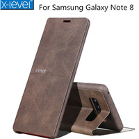 X Level Luxury Cowboy PU Leather Flip Phone Case For Samsung Galaxy Note 8 S8 S8