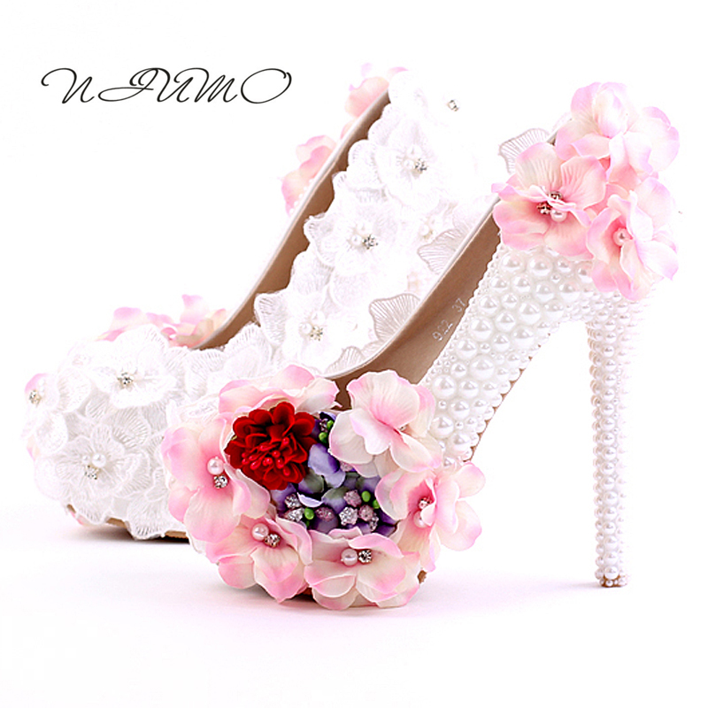 White pearl diamond high-heeled round shoes Pink lace flower fine with bridal shoes Waterproof women's shoes