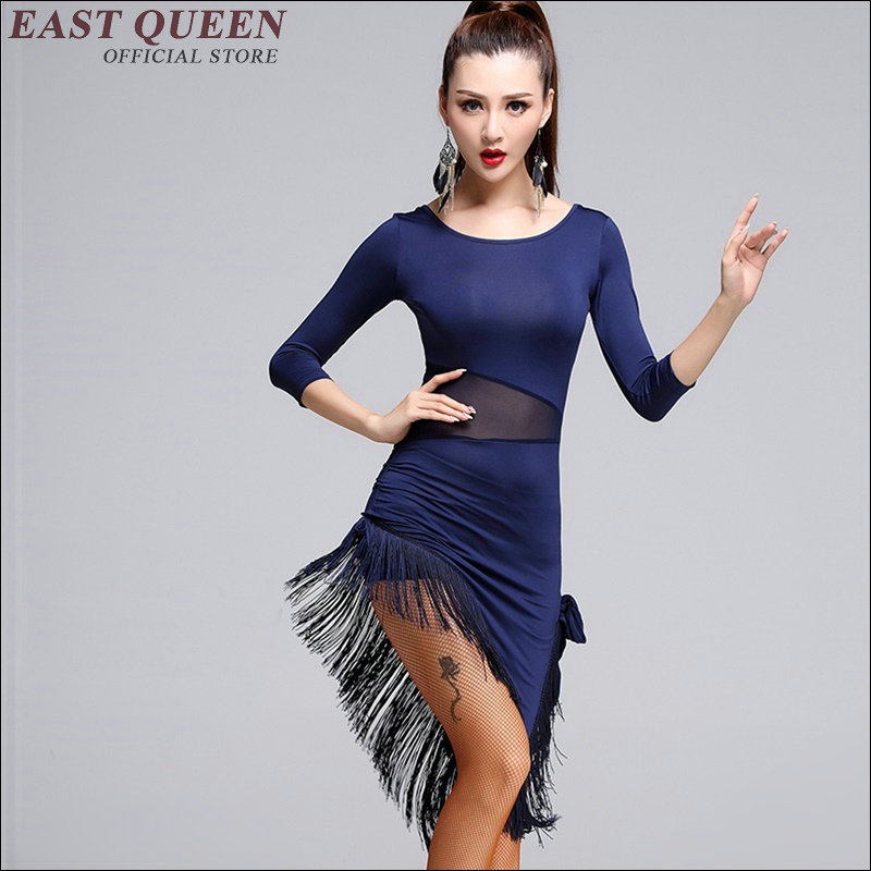 New ladies latin costume Sexy tassel dress for latin dancer Fashion casual latin dresses for sale