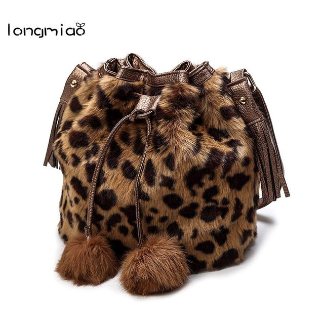longmiao Fashion Design Faux Fur Bucket Drawstring Bag Leisure Handbag  Autumn Winter Bucket Women Leopard Fluff Crossbody Bags