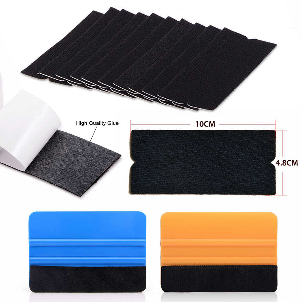 "EHDIS 10Pcs Vinyl Film Car Wrap Felt Fabric for 4"" 10cm Squeegee Auto Window Tint Wrapping Scrapers No Scratch Felt Edge Cloth"