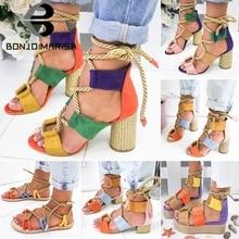 BONJOMARISA New INS Hot Sale Hemp Rope Gladiator Sandals Wom