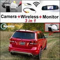 3 in1 Special Camera + Wireless Receiver + Mirror Monitor EASY DIY Backup Parking System For Dodge Journey JC JCUV 2008~2015