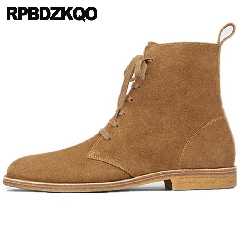 Мужские зимние ботинки с мехом осень замшевые Роскошные ботильоны стильные ботильоны Обувь для подиума короткие на шнуровке; Большие разме