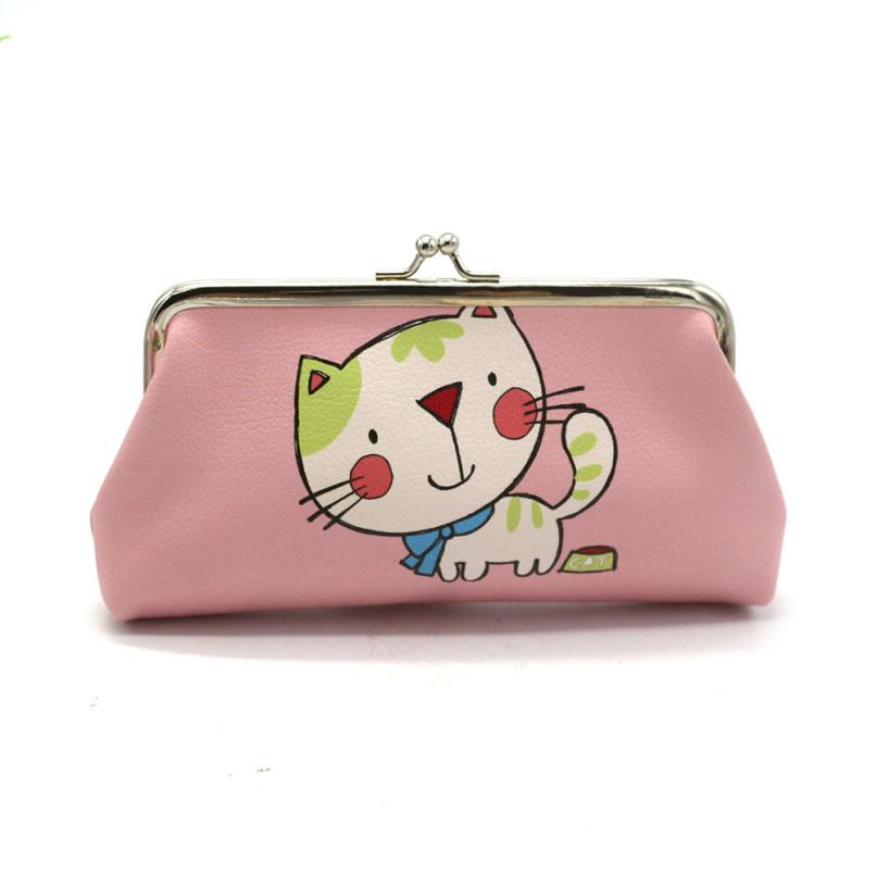 Women Coin Purse Bags Lady Wallets Retro Vintage Cute Cat Cartoon Leather Small Wallet Hasp Small Purses Clutch Bag Gift