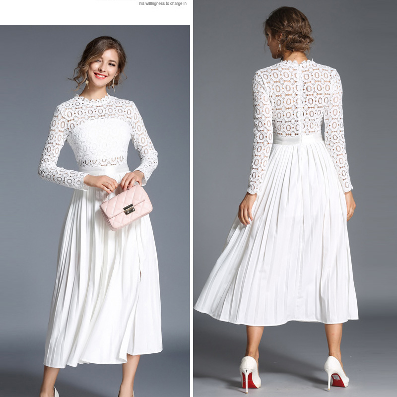 132da1b2a504 women white lace autumn dress female Elegant long summer dress ladies party dresses  long sleeve midi dress clothes vestidos