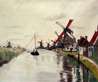 Windmills In Holland Claude Monet Painting Landscape Oil On Canvas Wall Art Pictures Frameless Fine Art