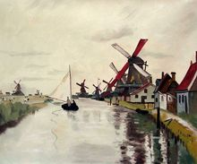 Windmills in Holland by Claude Monet Handpainted
