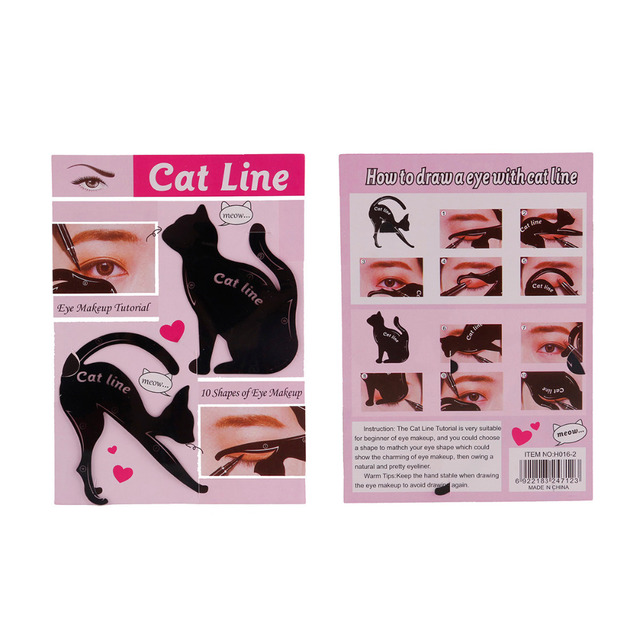 2Pcs/Set New Cat Line Eyebrow Makeup Stencils Templates Make up Tools Kits For Eye stencil painted eyes Guide tool 5