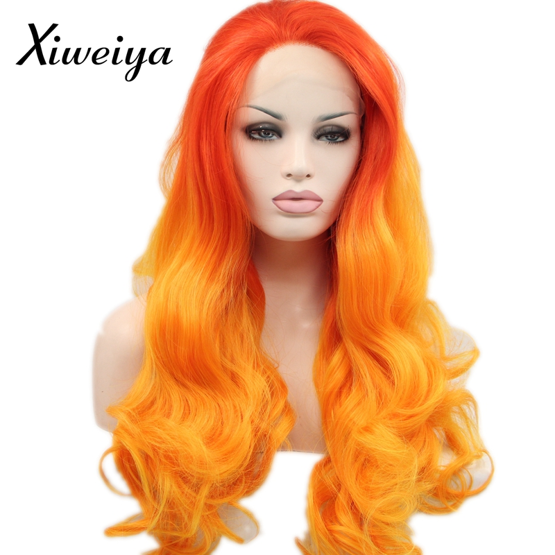 Xiweiya Heat resistant synthetic lace front wig for women ombre orange to yellow long wavy soft