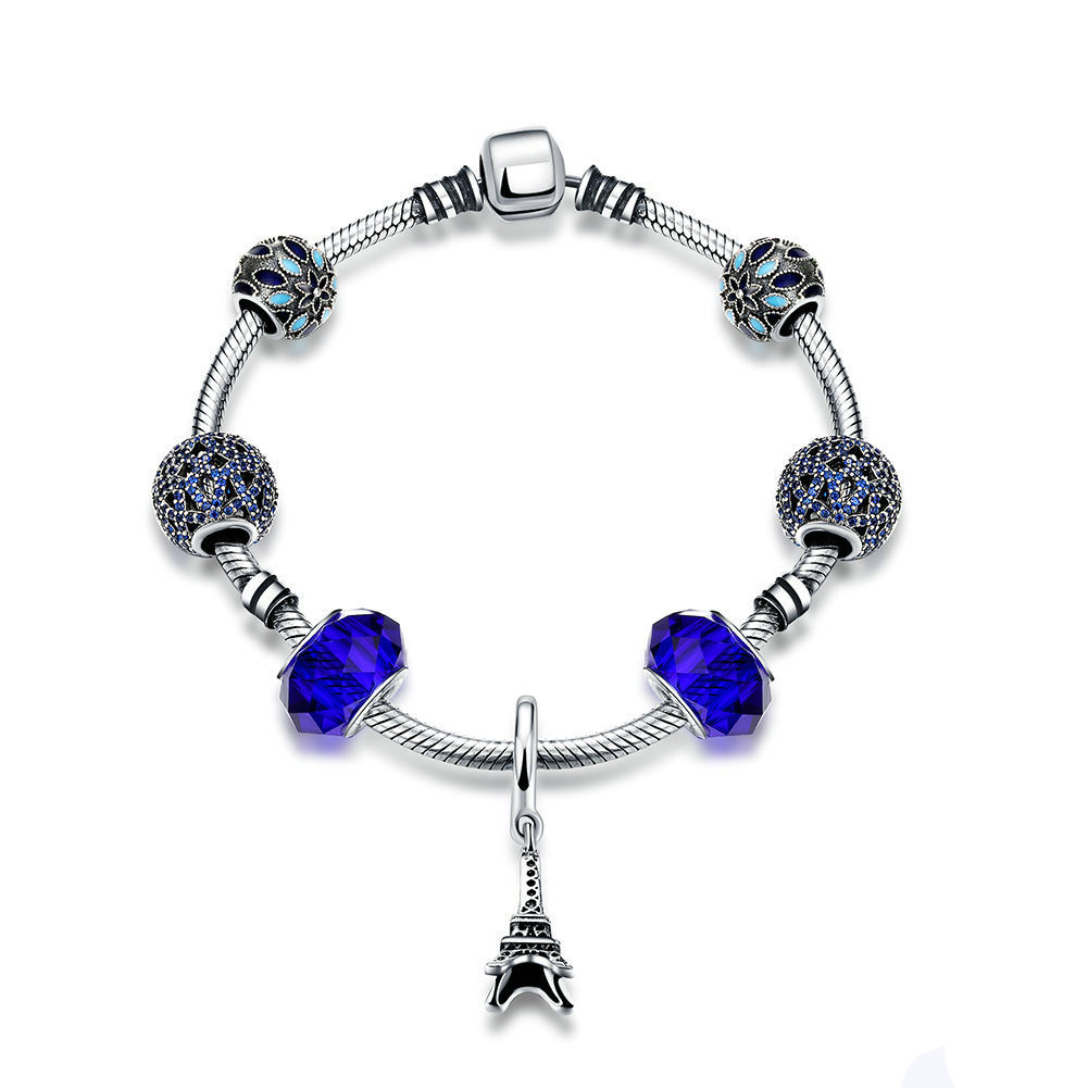 Eiffel Tower Blue Crystal Ball CZ 925 Silver Bracelet lamel professional гель для бровей brow gel 03 10 мл