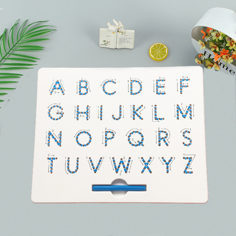 26 Alphabet Numbers Magnetic Tablet Drawing Board Pad Toy Bead Magnet Stylus Pen Writing Memo Board Learning Educational Kid To