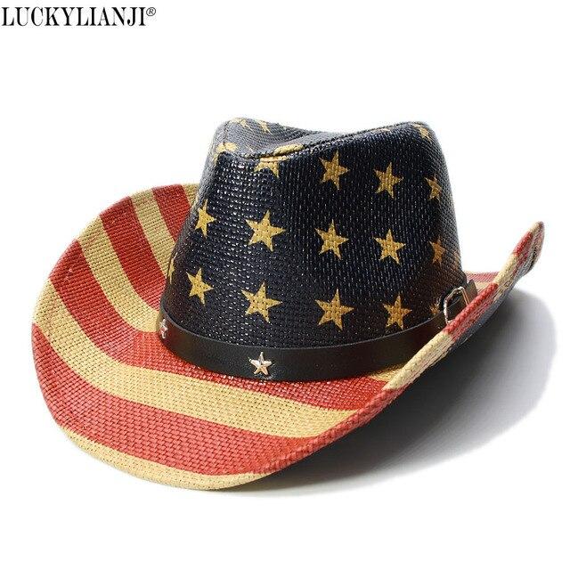 7121248cf1c LUCKYLIANJI Kid Child Children s Pentagram Stripes American Flag Wide Brim  Straw Sun Beach Cowboy Cowgirl Hat (54cm)