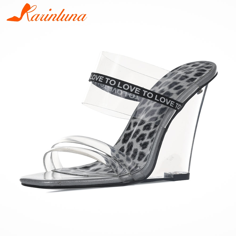 KARINLUNA Brand New Fashion Big Size 35-40 Ladies Wedges High Heels Leopard Rivet Shoes Woman Casual Party Summer SlippersKARINLUNA Brand New Fashion Big Size 35-40 Ladies Wedges High Heels Leopard Rivet Shoes Woman Casual Party Summer Slippers