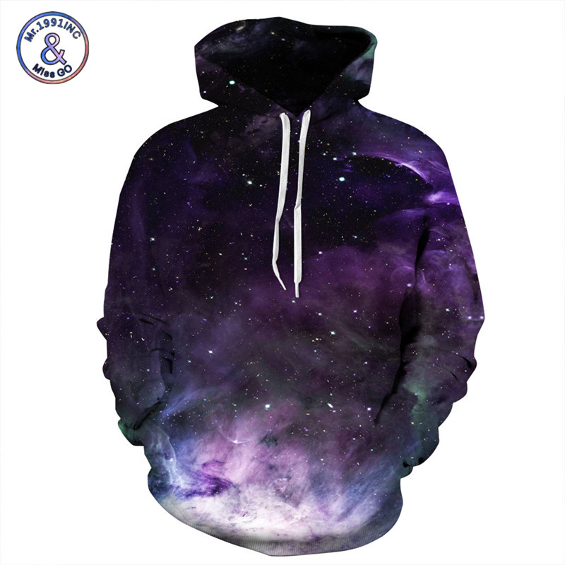 Mr.1991INC Brand Hoodies Men/Women Sweatshirt With Hat 3d Hoodies Purple Sky Print Hoody Tracksuits Pullover Tops