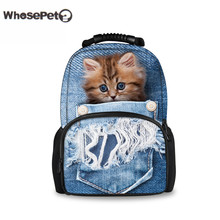 WHOSEPET Denim Cat Backpack Schoolbag Cute Girls Youth Knapsacks For Teenager Women Men Rucksack Kawaii Book Bag Mochila Vintage