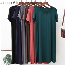 Jinsen Aite 2019 New Summer Modal Women Dress Solid Color Short-sleeved Large Size Long Casual A-line Female Dresses JS798