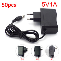 50PCS DC 5V 1A 1000mA AC to DC Power Adapter supply EU Plug 5.5mm x 2.1mm 100V 240V Converter adapter for LED Strip Light CCTV