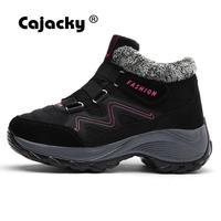 Cajacky/зимние женские кроссовки с высоким берцем, очень теплый мех, 35-42, большие размеры, женские походные ботинки, плюшевая спортивная обувь, в...