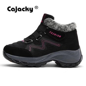 Cajacky, zapatillas de Invierno para mujer, botas altas de piel muy cálidas para exteriores, Botas de senderismo de talla grande para mujer de 35-42, calzado deportivo de felpa resistente al agua