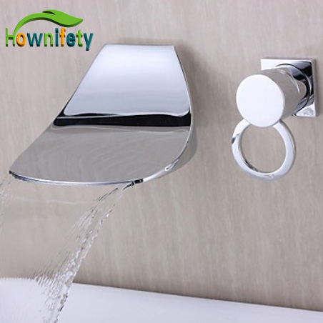 Contemporary Design Wall-mounted Waterfall Chrome Finish Curve Spout Bathroom Faucet