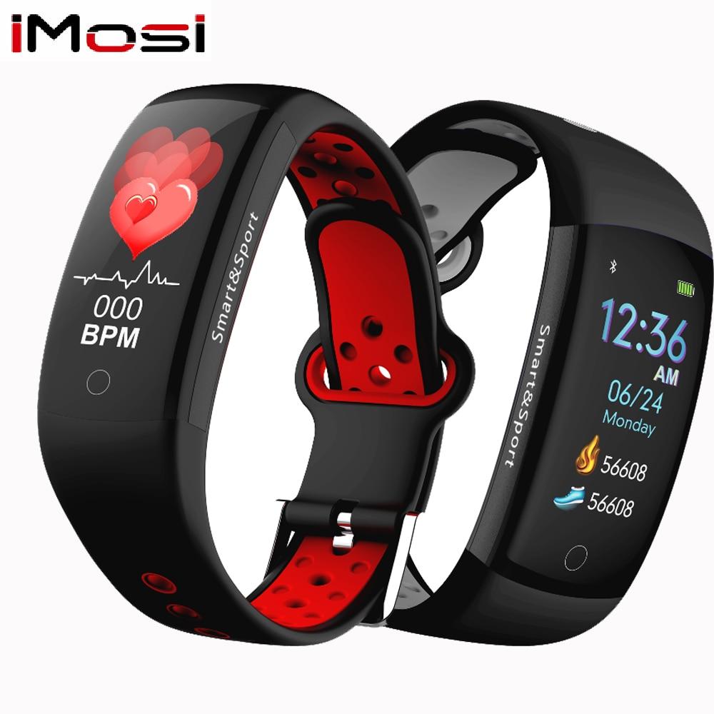 Q6S Bracelet intelligent moniteur de fréquence cardiaque de pression artérielle Bracelet Smartband étanche sport Fitness couleurs 3D Bracelet de montre dynamique