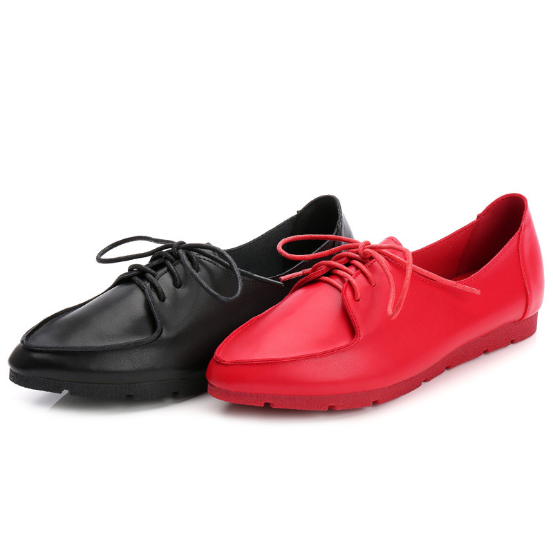 Womens Flat Shoes Loafers Women Genuine Leather Lace-up Flats Fashion Candy Color Summer Casual Single Shoes Black White Red summer women flats shoes casual flat women shoes slips flat women loafers shoes slips leather black flat s women s shoes