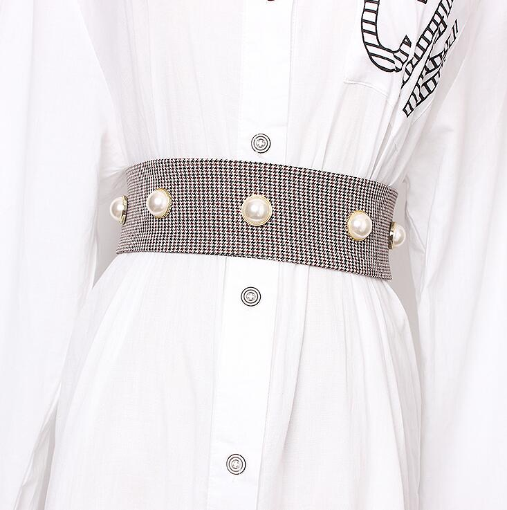 Women's Runway Fashion Pearl Beaded Cummerbunds Female Dress Corsets Waistband Belts Decoration Wide Belt R1706