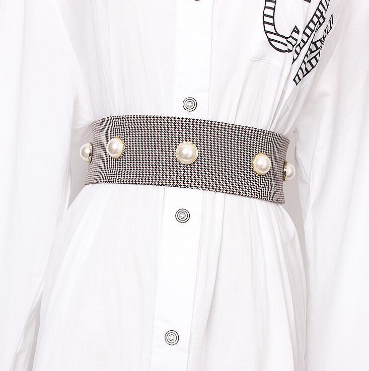 Women's Runway Fashion Pearl Beaded Cummerbunds Female Dress Corsets Waistband Belts Decoration Wide Belt R1706