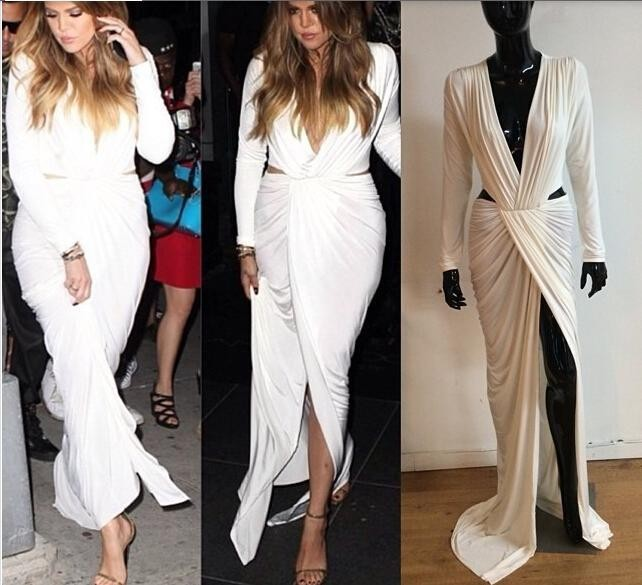 2018 Hot Sale Sexy White Long Sleeve Inspired Khloe Kardashian V Neck Cutout Prom Party Gowns Formal Mother Of Bride Dresses