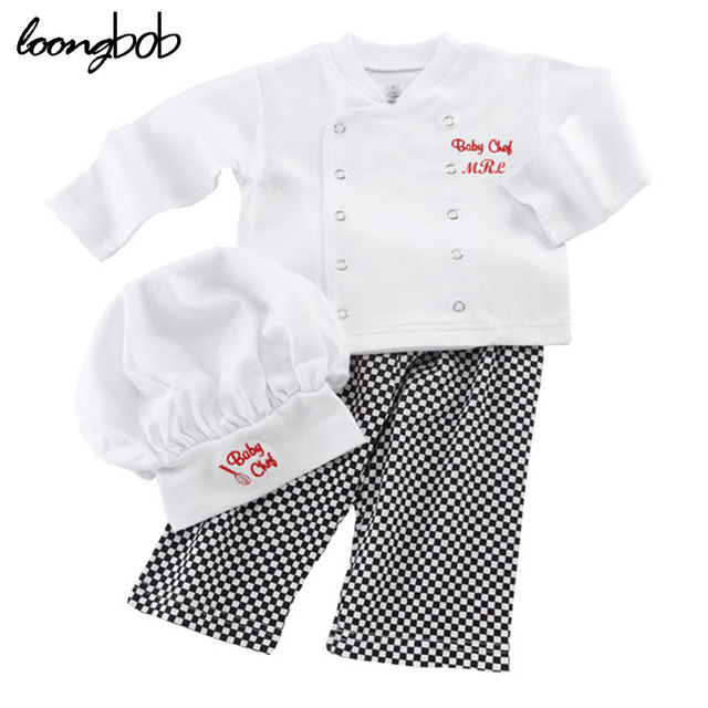 Cute Baby Infant high qualit Toddler Chef Cotton Costume 3 Piece Clothes Hat+ White Top + Plaid Pants for Newborn Boys Suits HOT