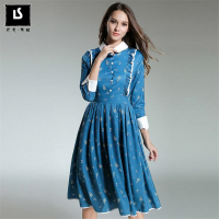 Brand Women Long Dress Hot Sale Europe America Spring Autumn Winter Vintage Hepburn Style Print Dresses