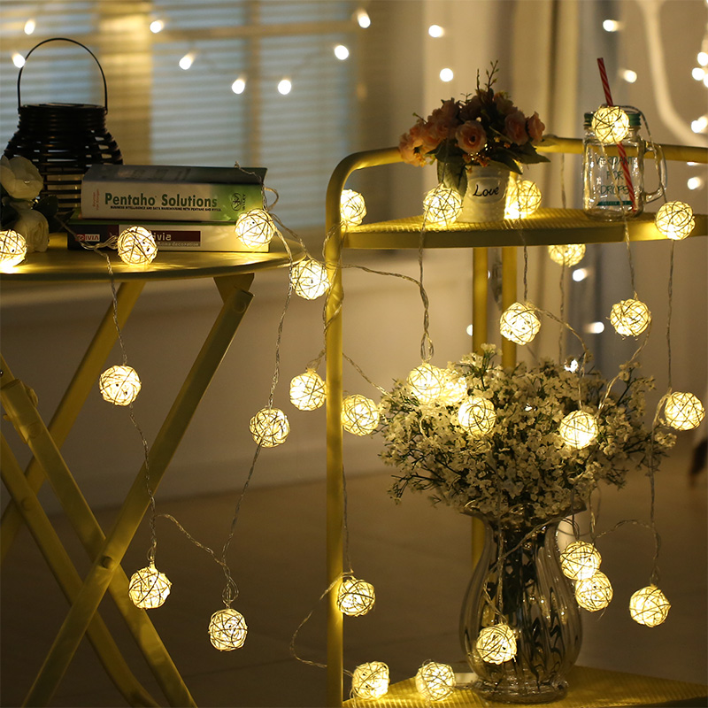Dcloud 2.2M Rattan Ball LED String Light Warm White Fairy Light Holiday Light For Party  ...