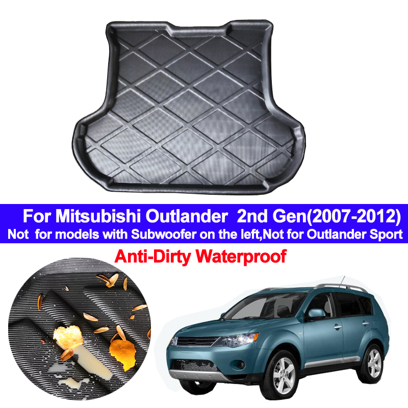 For Mitsubishi Outlander 2nd Gen 2007 2008 2009 2010 2011 2012 Car Rear Trunk Mat Cargo Tray Boot Liner Carpet Protector Floor