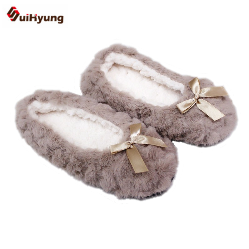 Suihyung New Fashion Women Winter Shoes Plush Home Slippers Faux Fur Soft Bottom Bedroom Floor Slippers Female Warm Indoor Shoes plush winter slippers indoor animal emoji furry house home with fur flip flops women fluffy rihanna slides fenty shoes