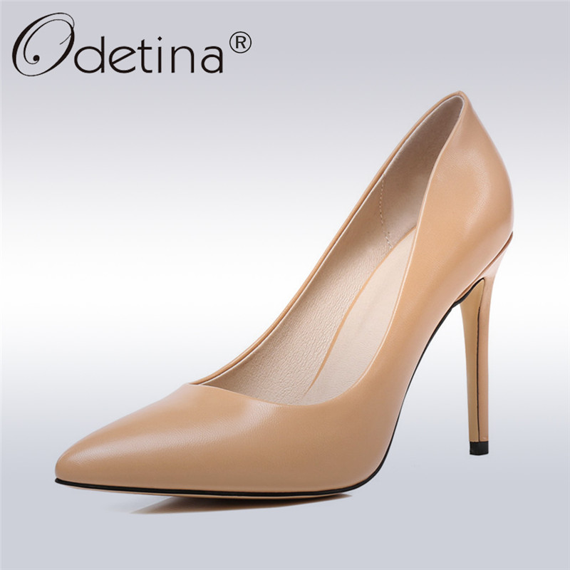 Odetina 2018 New Fashion Pointed Toe Pumps For Women Thin Heel Sexy Party Shoes Female Extrem High Heels Slip on Pump Shoes women studded high heels pointed toe sexy pumps new 2017 ladies slip on thin heel shoes riveted free shipping