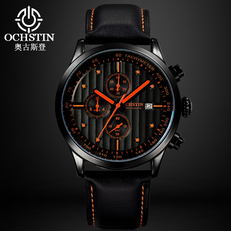 OCHSTIN Men Quartz Watches Luxury Brand Casual Wristwatches Leather Band Relogio Masculino Chronograph Watch Sports male Clock watches men luxury brand chronograph quartz watch stainless steel mens wristwatches relogio masculino clock male hodinky