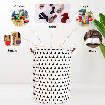 1pc Folding Laundry Basket Round Storage Bin Bag Large Hamper 3