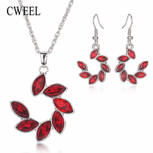 CWEEL Turkish Jewelry For Women Vintage Nigerian Wedding African Beads Jewelry Set Imitation Crystal Indian Jewelry Accessories