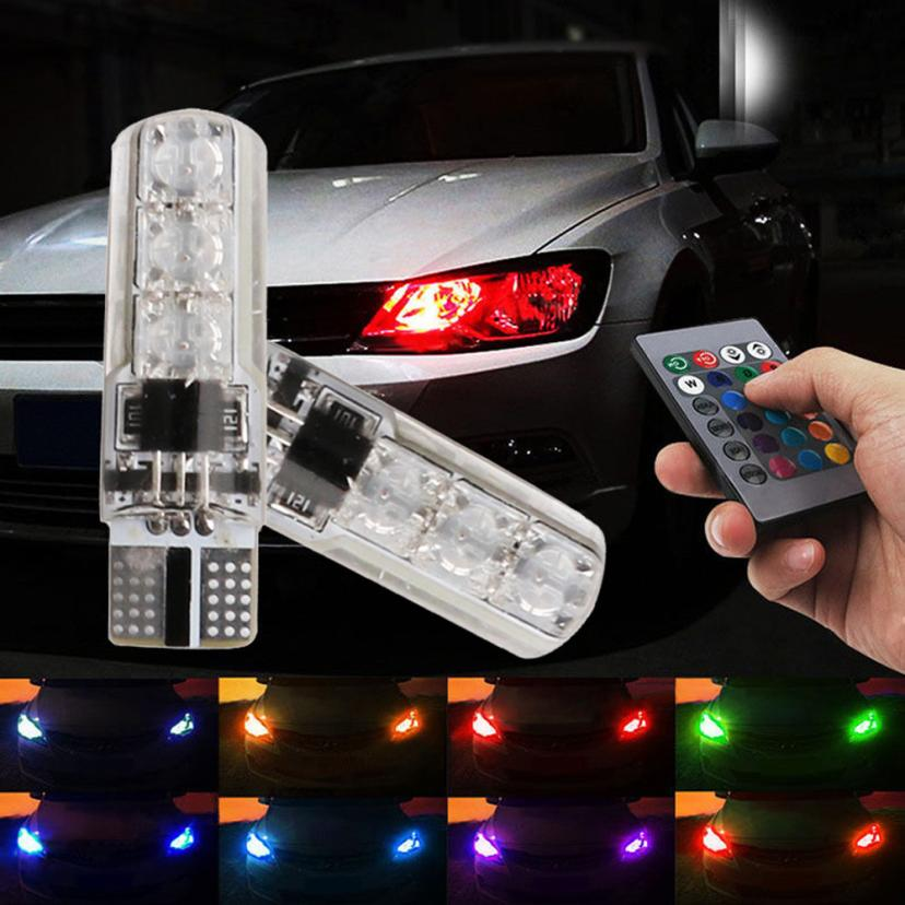 Car-styling AUTO 2x T10 5050 LED RGB Multi-color Interior Wedge Side Light Strobe Remote Control