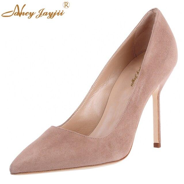 ee8b33194b1 85MM Suede Pumps High Beige Heels Suede Pointed Toe Nude Pumps Women Basic  Shoes Woman Foot Dress Career Office Romyed 8.5cm