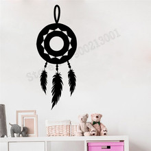 Wall Sticker Symbol Amulet Room Decoration Feather Dreamcatcher Mural Vinyl Art Removeable Poster Beauty Ornament LY607 цена
