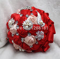 Hand Made Top Quality Luxurious Brooch Bride Bridal Wedding Bouquet Brides Maid Red Ross Ball Artificial Flower Sp8568s