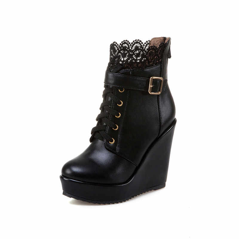 5064ea93bde ... YMECHIC Winter Buckle Wedges Platform Ankle Combat Boots for Women Lace  Up White Black High Heel ...