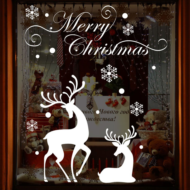 Fundecor] christmas window stickers   white white