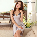 Women Summer silk satin nightgowns large size sexy nuisette longue lady v neck sleeveless night dress 3 colors frees shipping
