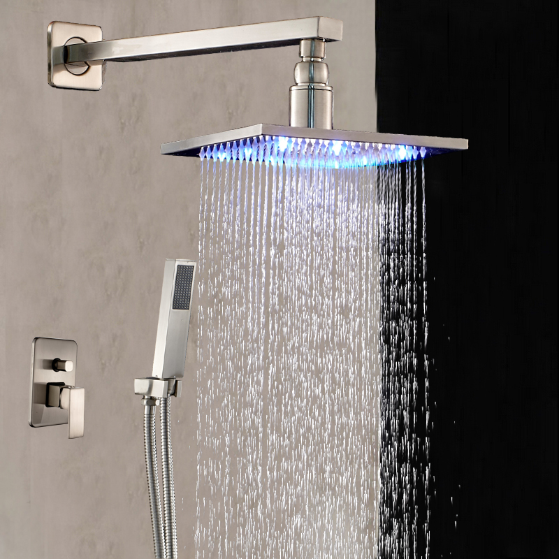 Wall Mounted LED Shower Head + Tub Spout + Hand Shower Nickel Brushed LED Faucet