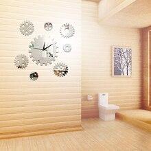 8Pcs/set DIY Rotating Gear Decorative Wall Clocks Art Mirror Stickers Quartz Wall Clock for Home Bedroom Decor